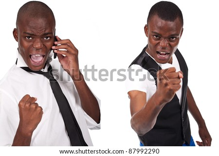 young and black man holding phone and looking bad