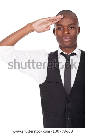 young and handsome black man gives salute - stock photo