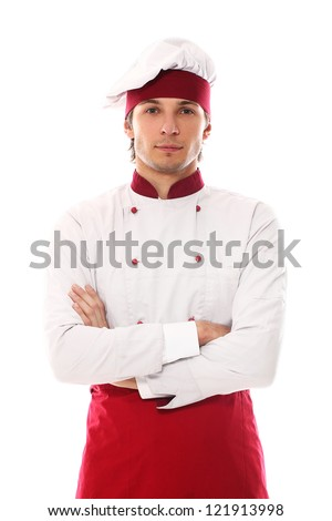 Young and handsome cook smiling portrait over a white background - stock photo