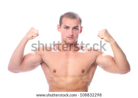 Young and handsome muscular man over white background