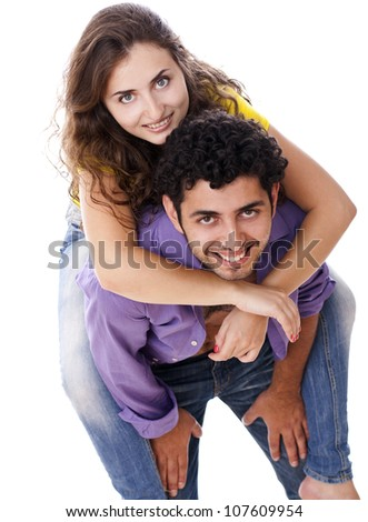 Young and happy couple over white background