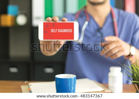 Young and professional medical doctor showing a smartphone and SELF DIAGNOSIS concept on screen