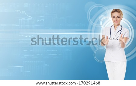 Young and professional medical worker (doctor or nurse) over abstract background - stock photo