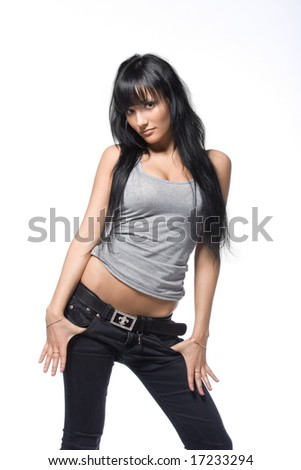 Young and seductive brunette isolated over white background - stock photo