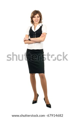 Young and sexy business woman isolated on white