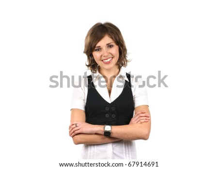 Young and sexy business woman isolated on white - stock photo