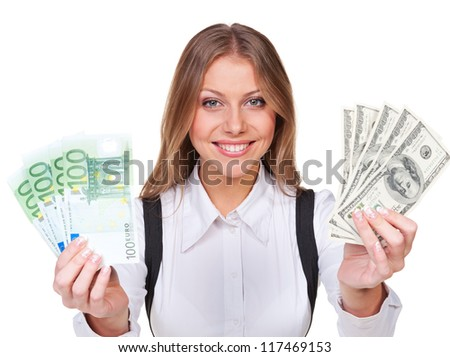 young and smiley businesswoman holding money. isolated on white background