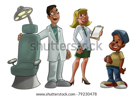 young and smiling dentist with a chair - stock photo