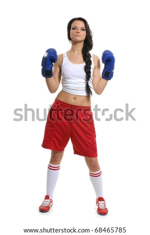 Young and sporty woman isolated on white background - stock photo