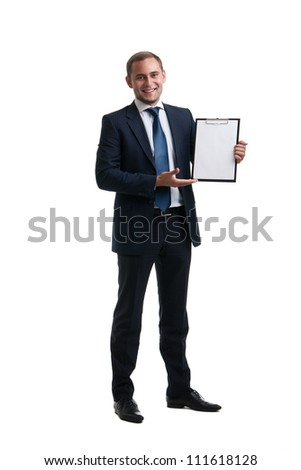 Young and successful businessman holding a clipboard