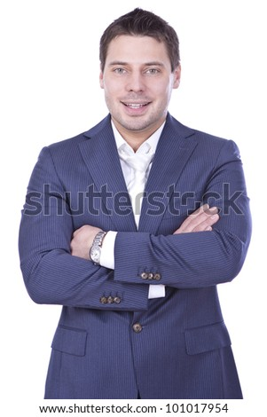 Young and successful businessman over white background - stock photo