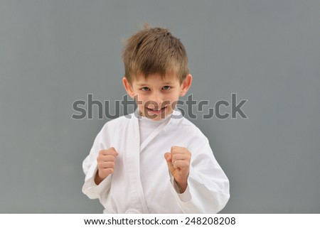 young and successful karate kid in karate positions - stock photo