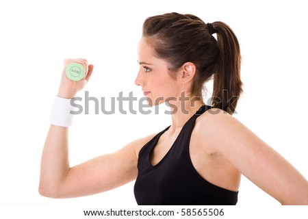 young and very attractive female exercise using green half kilogram weights, studio shoot isolated on white - stock photo