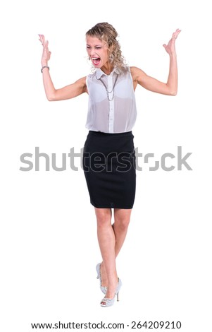 Young anger woman. Caucasian businesswoman isolated on white background in full body - stock photo