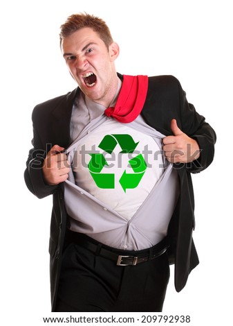 Young angry businessman tearing his shirt - dollar recycling symbol on it - stock photo