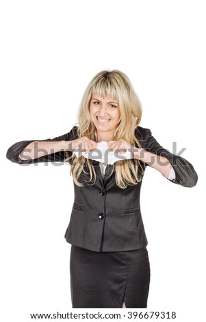 young angry businesswoman ripping paper contract. business, emotion, fail and people and concept. image on a white studio background. - stock photo