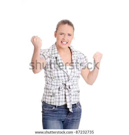 Young angry woman with fist up, isolated