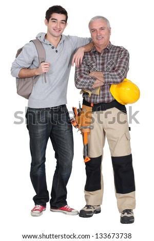 young apprentice and senior instructor - stock photo
