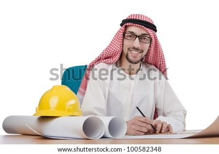 Young arab architect isolated on white - stock photo