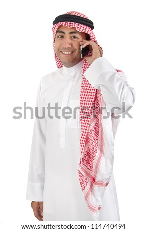 Young Arab Man Talking on Cell Phone - stock photo