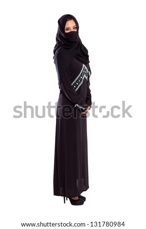 young arabian woman full length portrait on white - stock photo