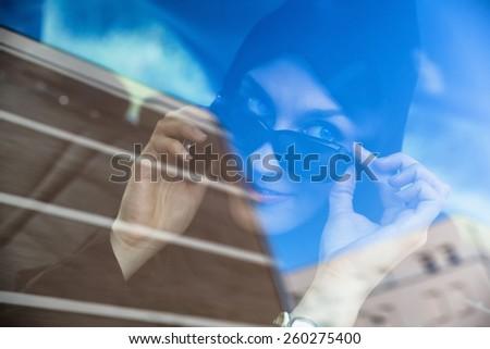 Young Arabic Woman In Car - stock photo