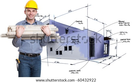 Young architect holding lots of blueprints with a house draft on the background