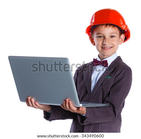 Young Architect in hardhat, holding notebook. Isolated on white background - stock photo
