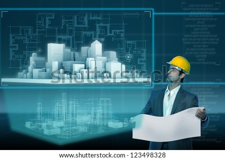 young architect looking on building on futuristic virtual screen - stock photo