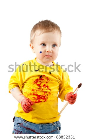 young artist child with brush - stock photo