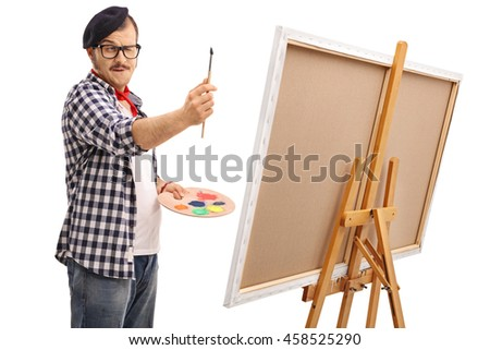 Young artist measuring proportions with a paintbrush isolated on white background - stock photo