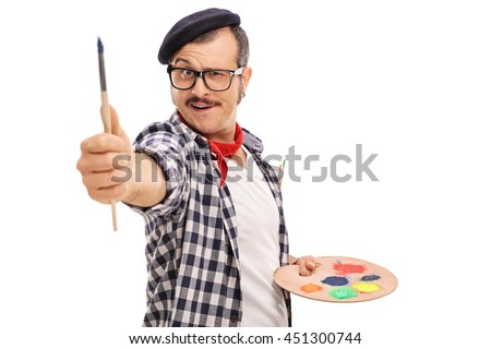 Young artist measuring proportions with his brush isolated on white background - stock photo
