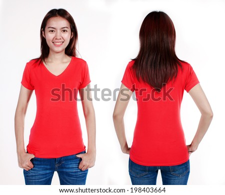 Young asian beautiful female with blank red shirt, front and back. Ready for your design or logo. - stock photo