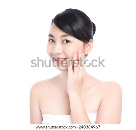 young asian beautiful woman's face-closeup