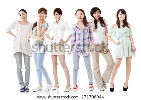 Young asian beautiful women posing for the camera. Full length portrait. Isolated on the white background.