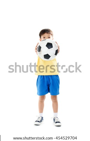 Young asian boy action with football on white background.