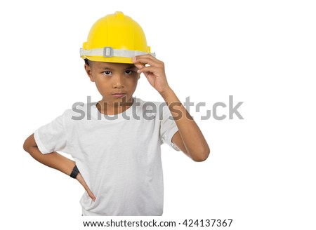 Young Asian boy in construction hat