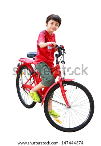 Young asian boy on the bike, Isolated on white with clipping path - stock photo