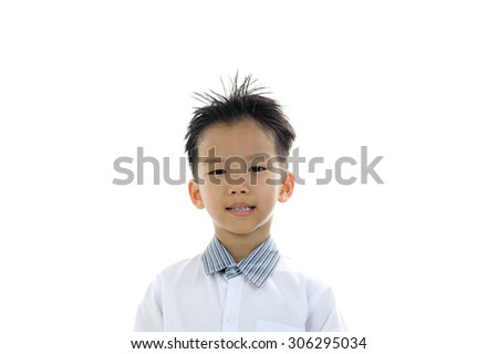 Young Asian boy portrait action isolated on white.