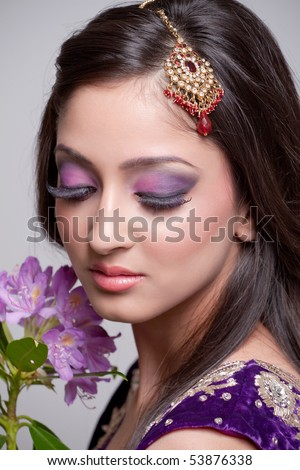 Young asian bride with beautiful makeup