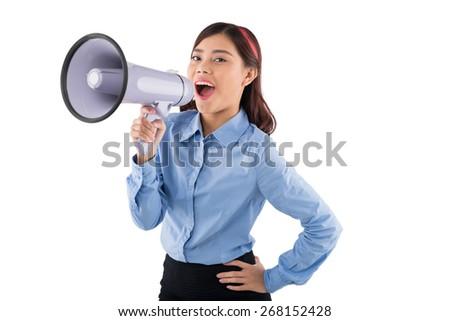 Young Asian business lady with megaphone