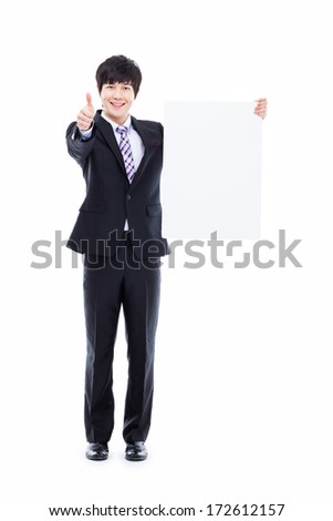 Young Asian business man holding a pannel isolated on white background.