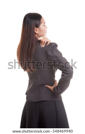 Young Asian business woman got back pain  isolated on white background.