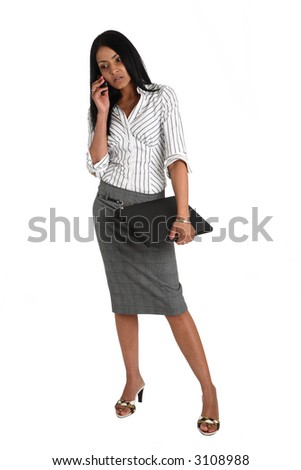 Young asian  business woman holding a laptop and using a mobile phone