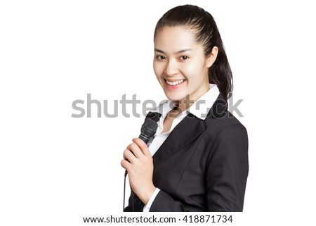 Young Asian business woman holding microphone with smiley face isolated on white background. news reporter. - stock photo