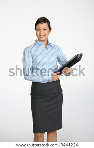 Young Asian Business woman photographed over white