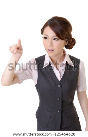 Young Asian business woman point and touch by finger, closeup portrait and focus on head against white background. - stock photo