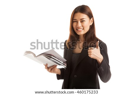 Young Asian business woman thumbs up with a book  isolated on white background.