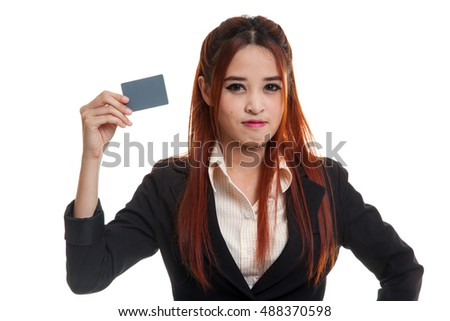 Young Asian business woman with a blank card  isolated on white background.