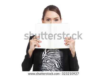 Young Asian business woman with a book  isolated on white background